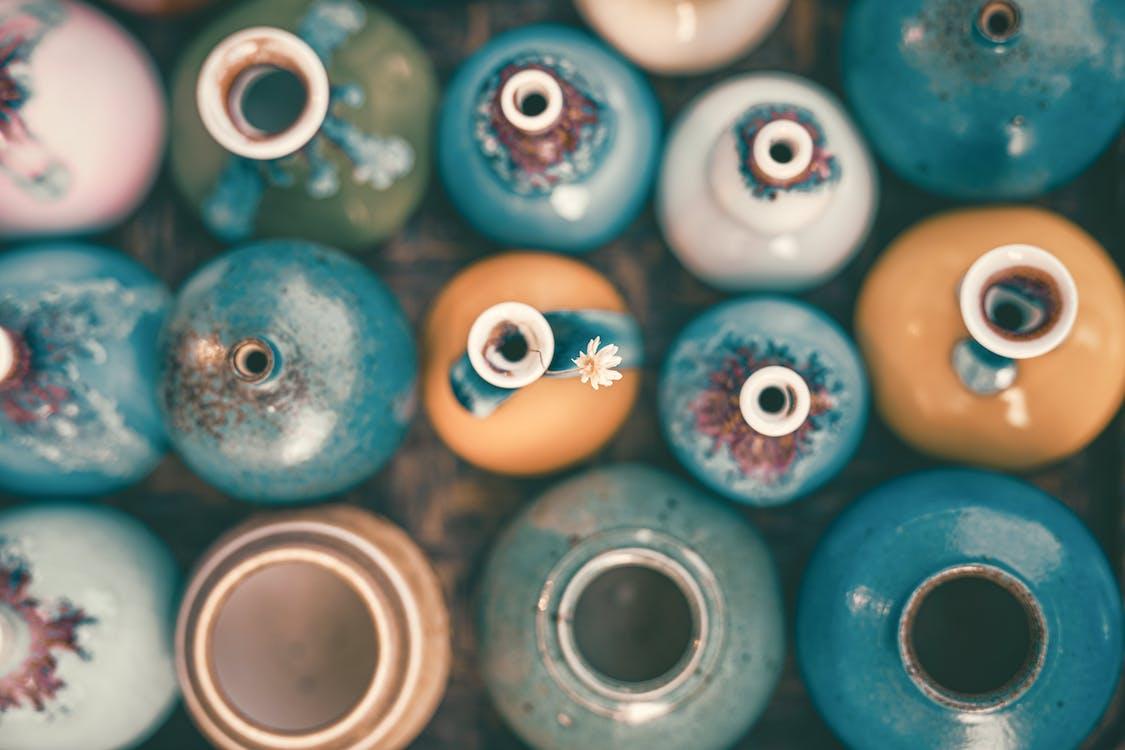 Blue and White Ceramic Round Figurine