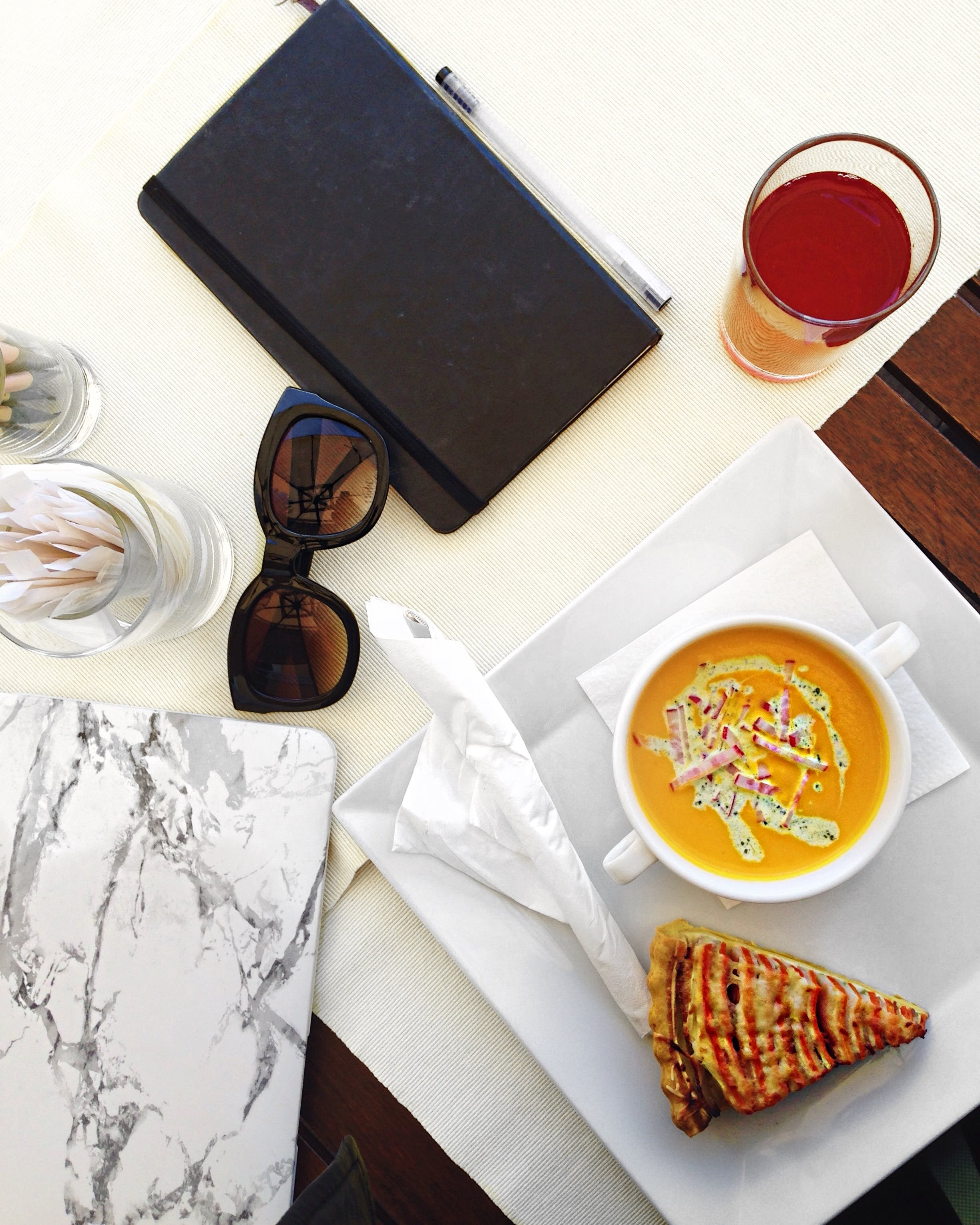Free stock photo of food, cup, laptop, drink