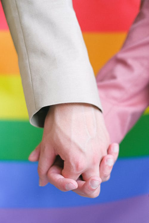 People Holding Hands With Gay Pride Flag in Background