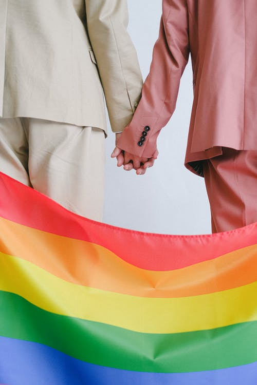 Couple Holding Hands Behind a Gay Pride Flag