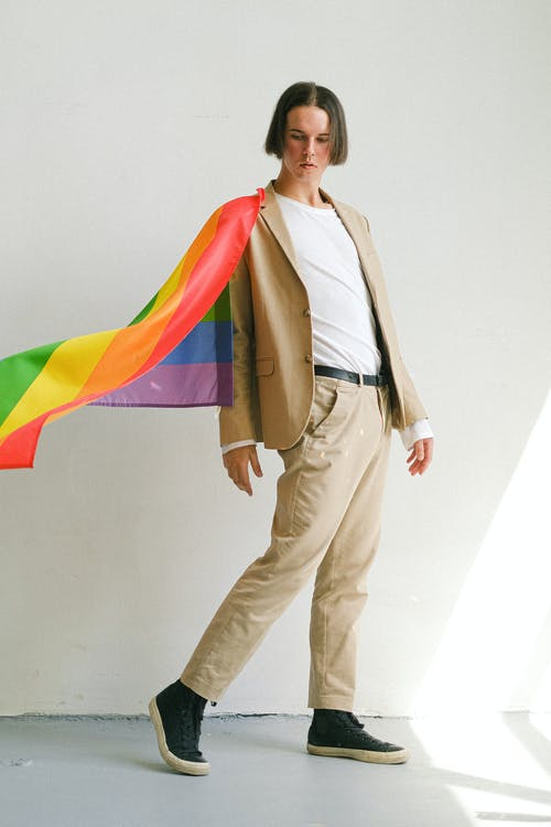 Man with a Gay Pride Flag
