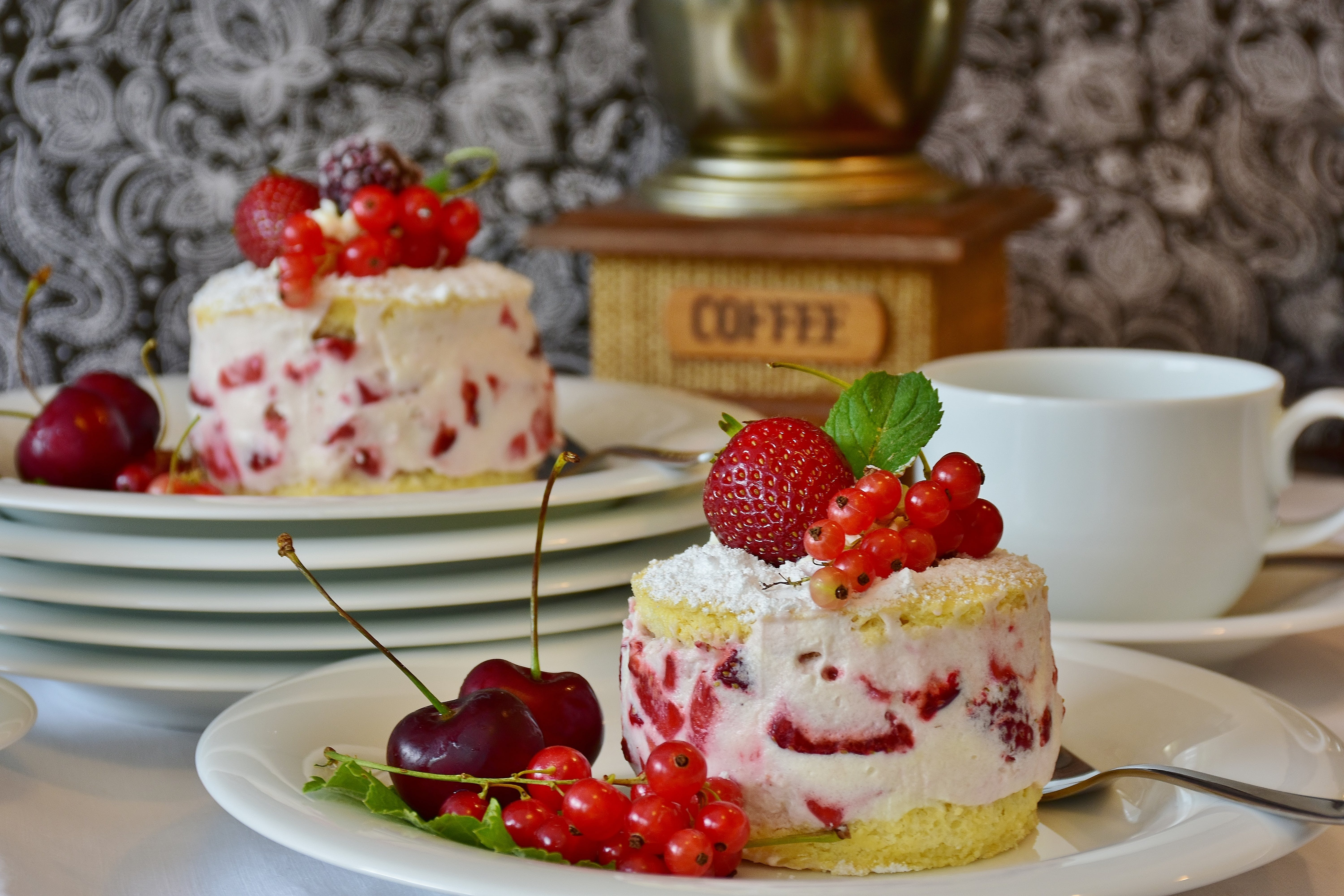 Strawberry Cake Serving in White Ceramic Plate