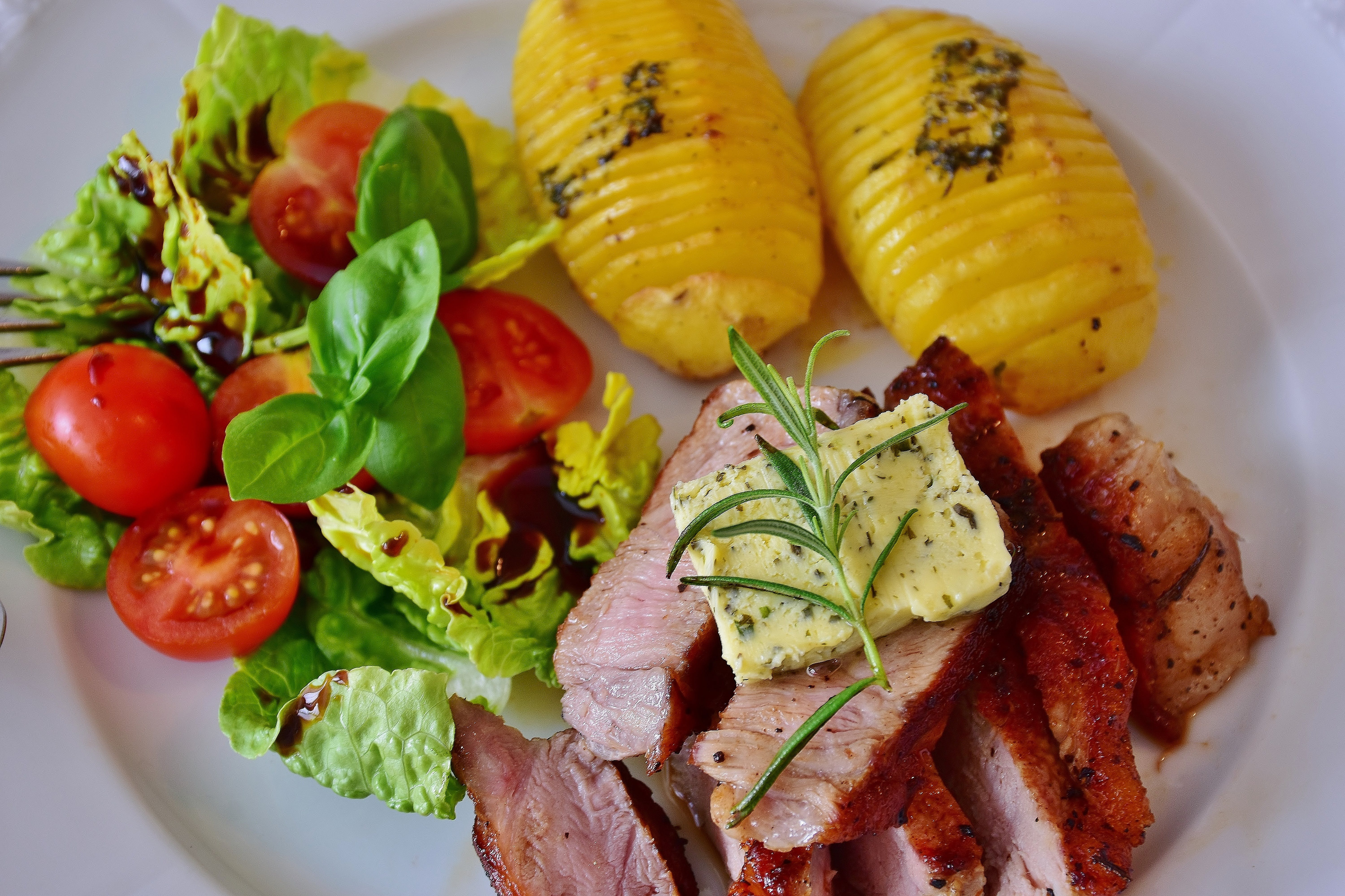 Steak With Salad and Potato