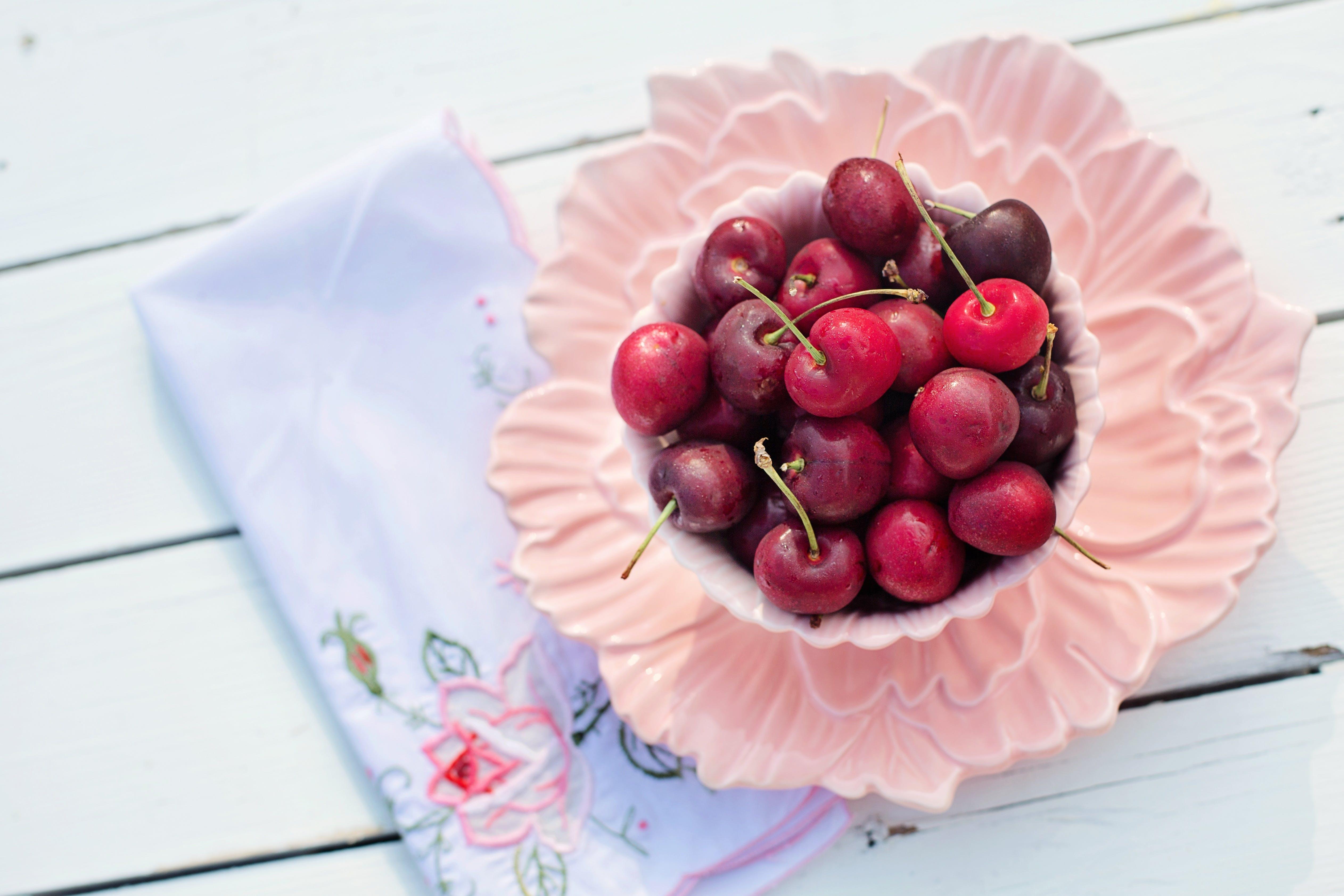 bowl, cherries, close-up