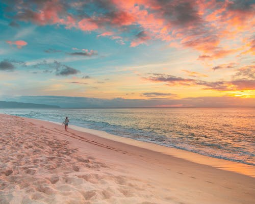 Person Walking on Beach during Sunset