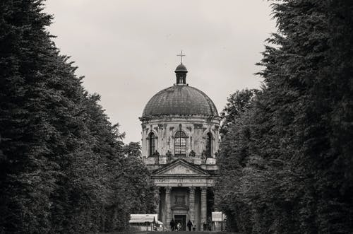 Black and white of aged masonry cathedral exterior with cross on top near overgrown trees under sky
