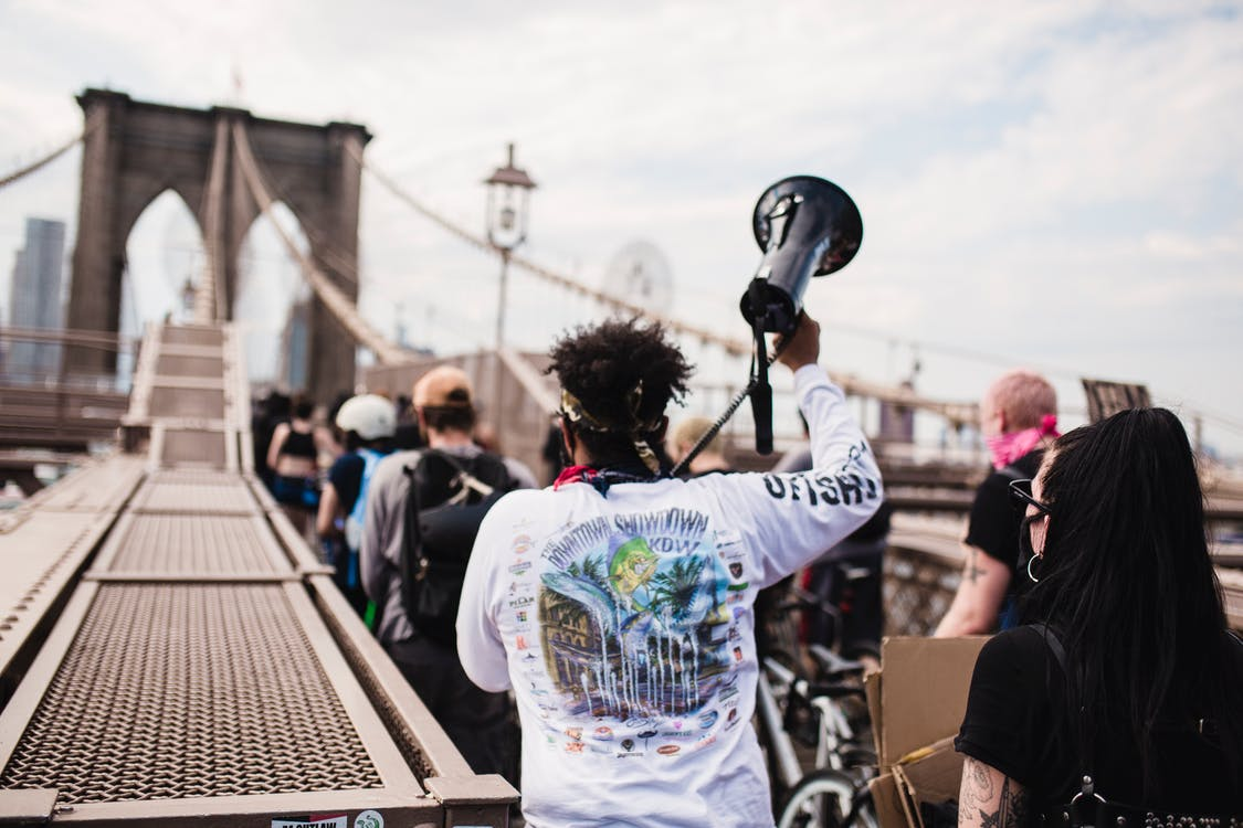 People Protesting at Brooklyn Bridge