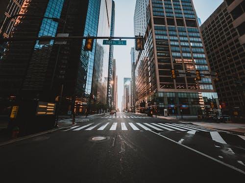 Road with crosswalk under traffic lights in modern city