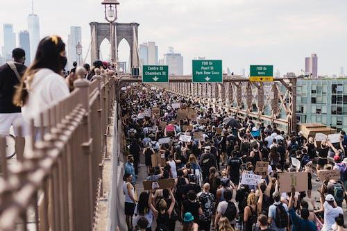 Multidão De Manifestantes Segurando Cartazes