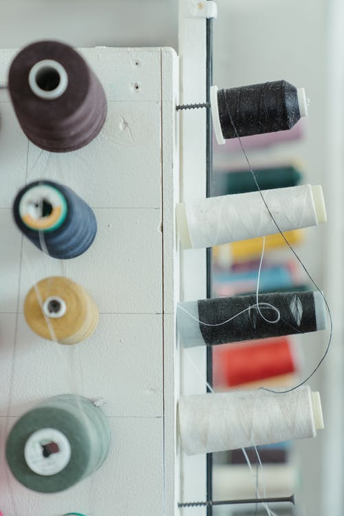 Blue Red Yellow and Green Thread Roll