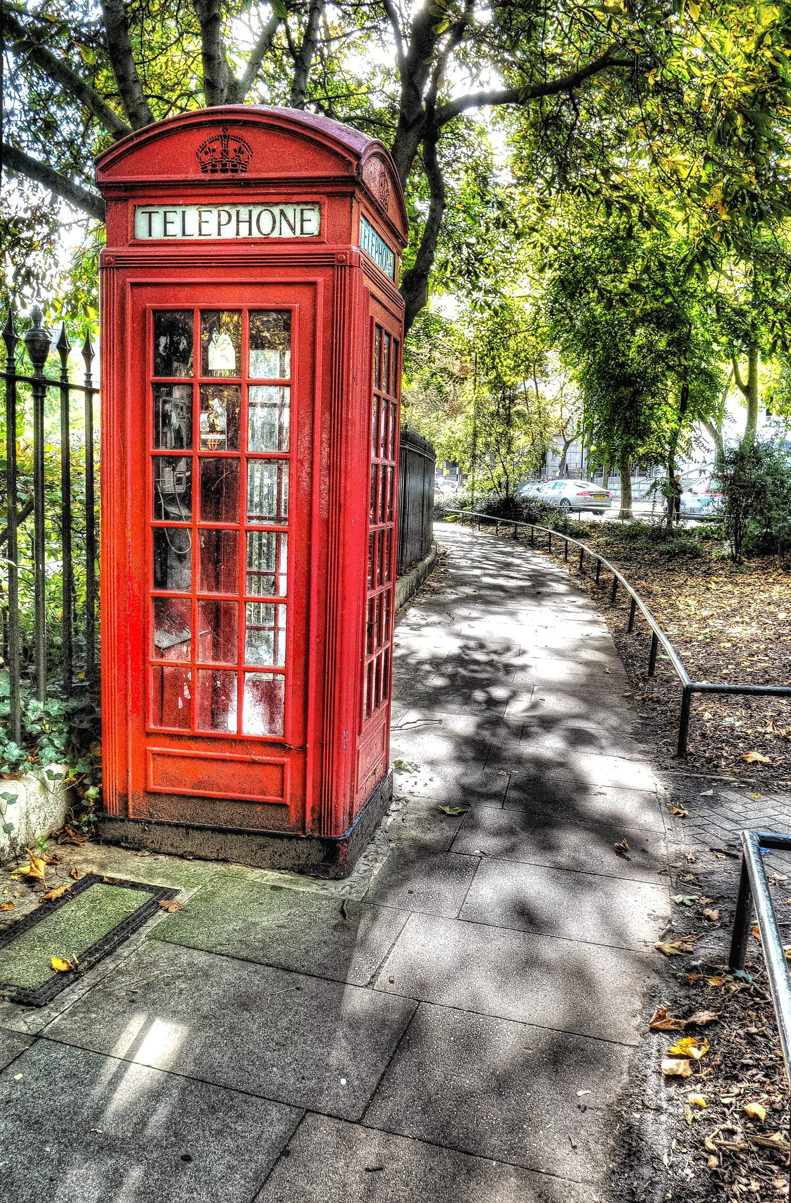 Red Telephone Booth on Park