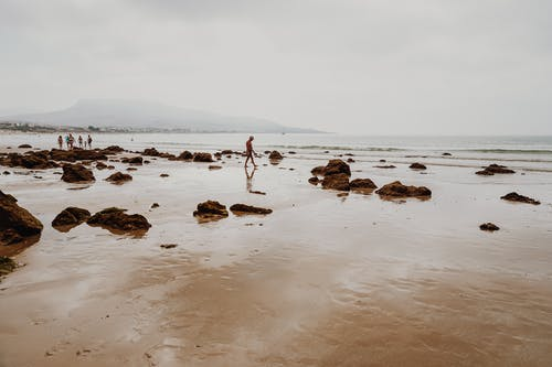 People walking on sandy shore with big stones
