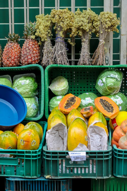 Fresh exotic fruits and vegetables in local street market