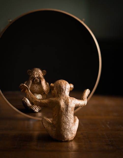 Ornamental statuette in form of macaque reflecting differently in mirror on wooden table at home