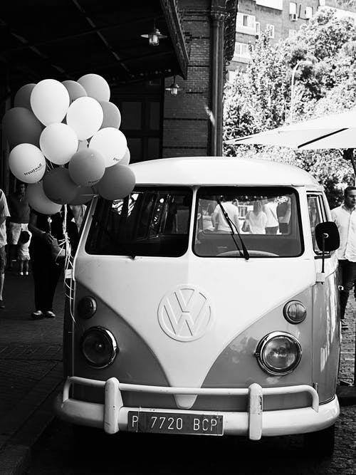 Grayscale Photography of Volkswagen T1 Van