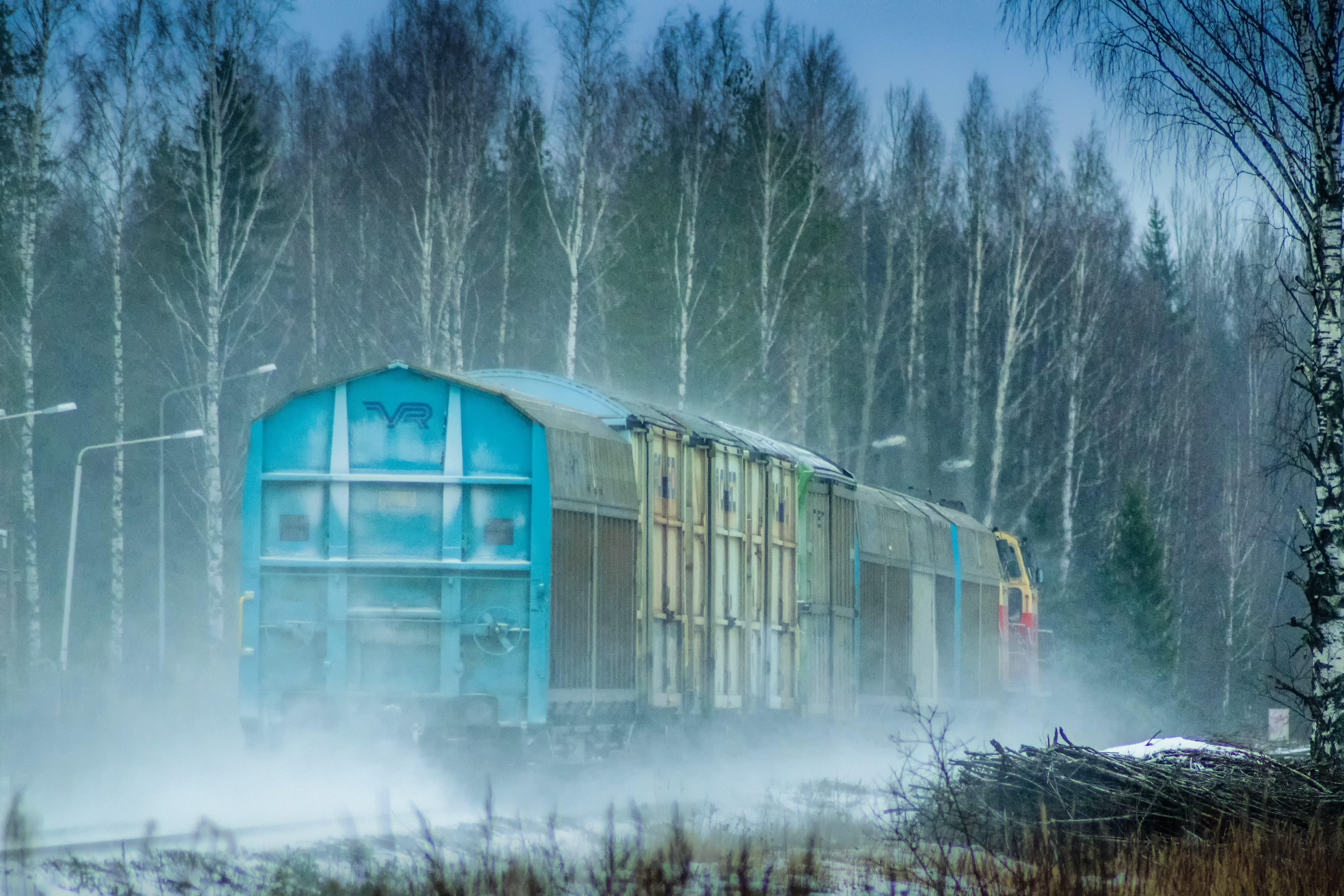 Free stock photo of train, winter, train car, the train track