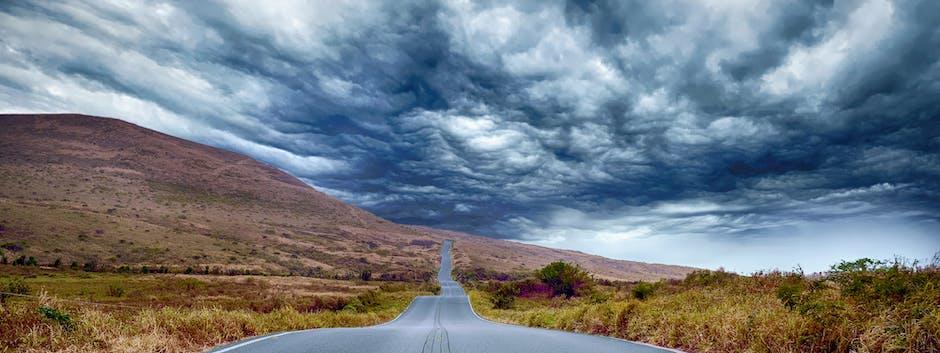 asphalt, clouds, countryside