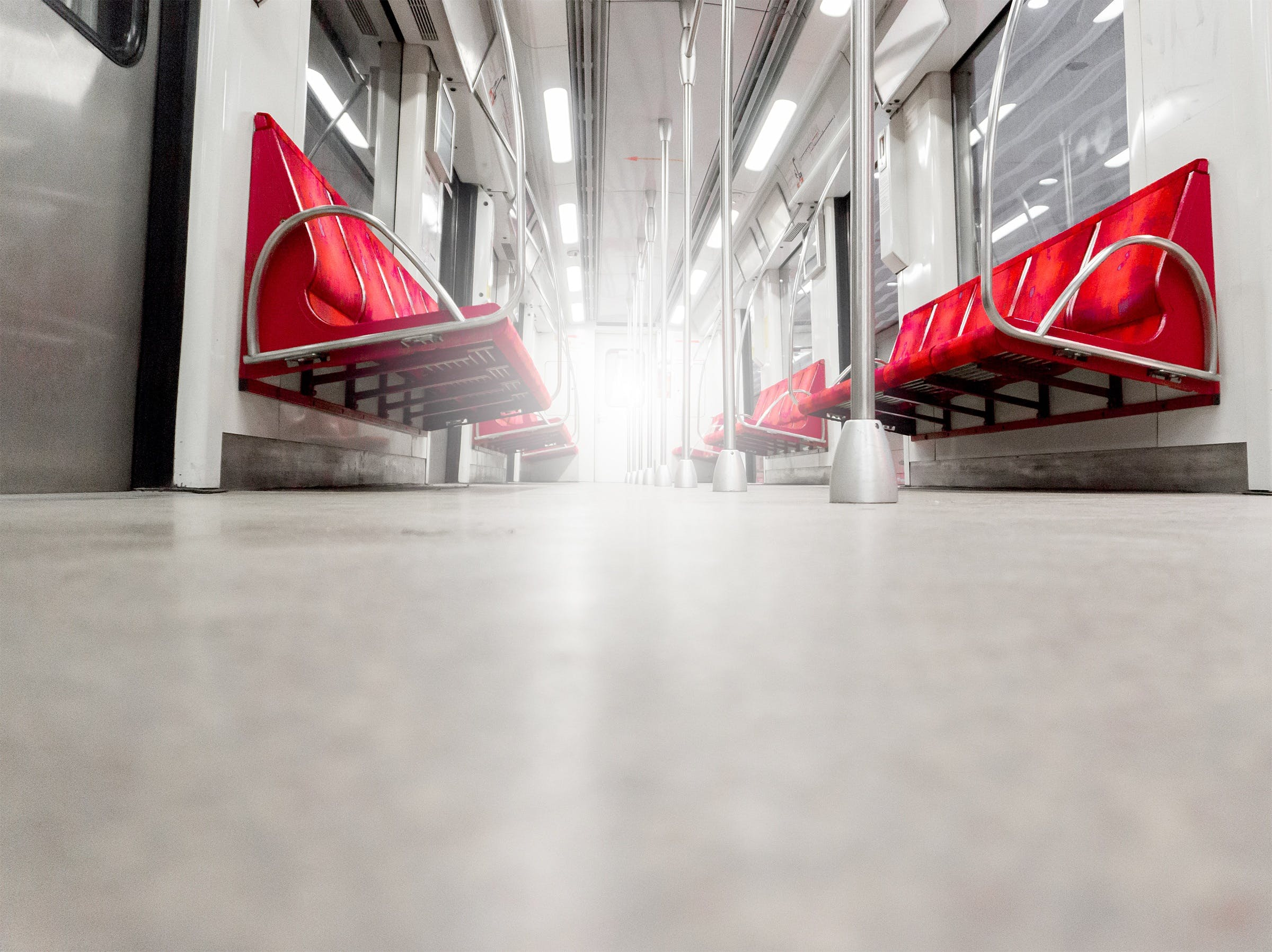 Low Angle Photography of Empty Train Interior