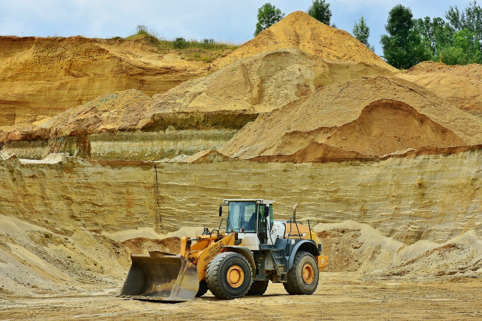 backhoe bucket, barren, dirt