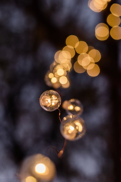 Golden Yellow and White Light Bokeh