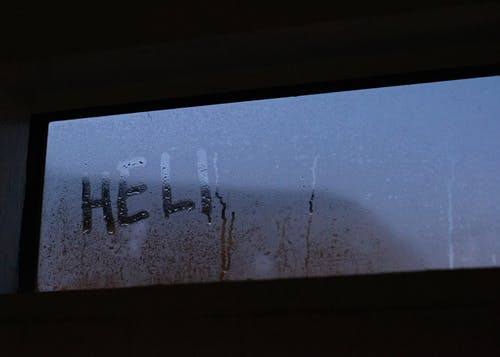 Text On Glass Window With Dew