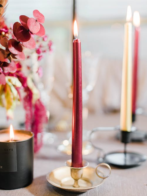 Red Candle on Silver Holder