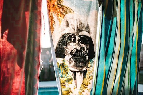 White and Black Skull Print Curtain