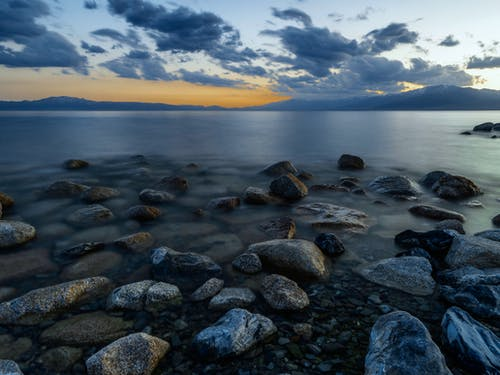Time-lapse Photography Of Rocky Shore