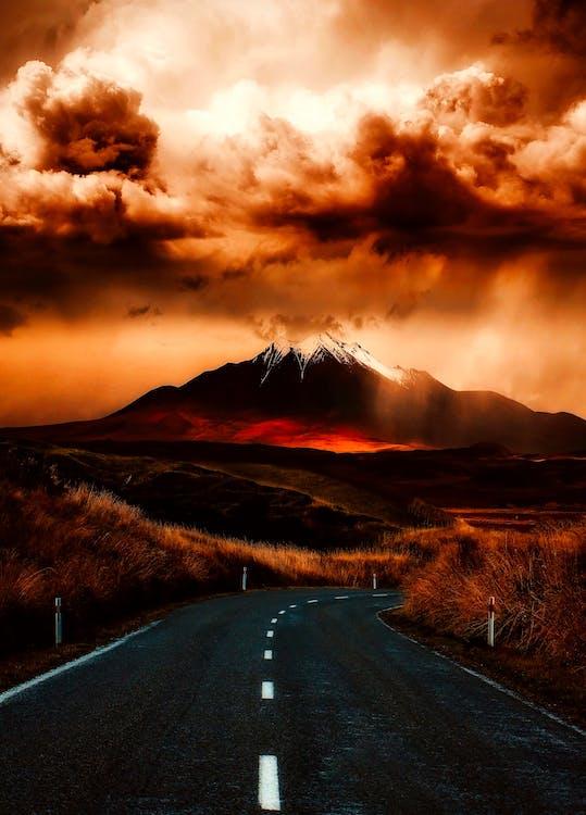 aften, bjerg, dramatisk