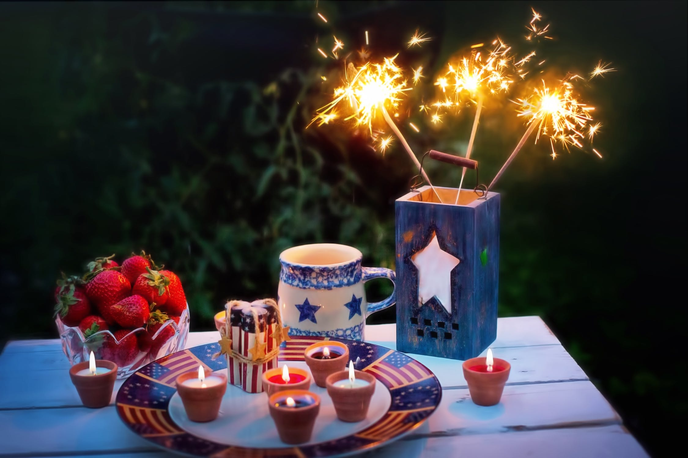 Sparklers, strawberries, and July 4th decorations