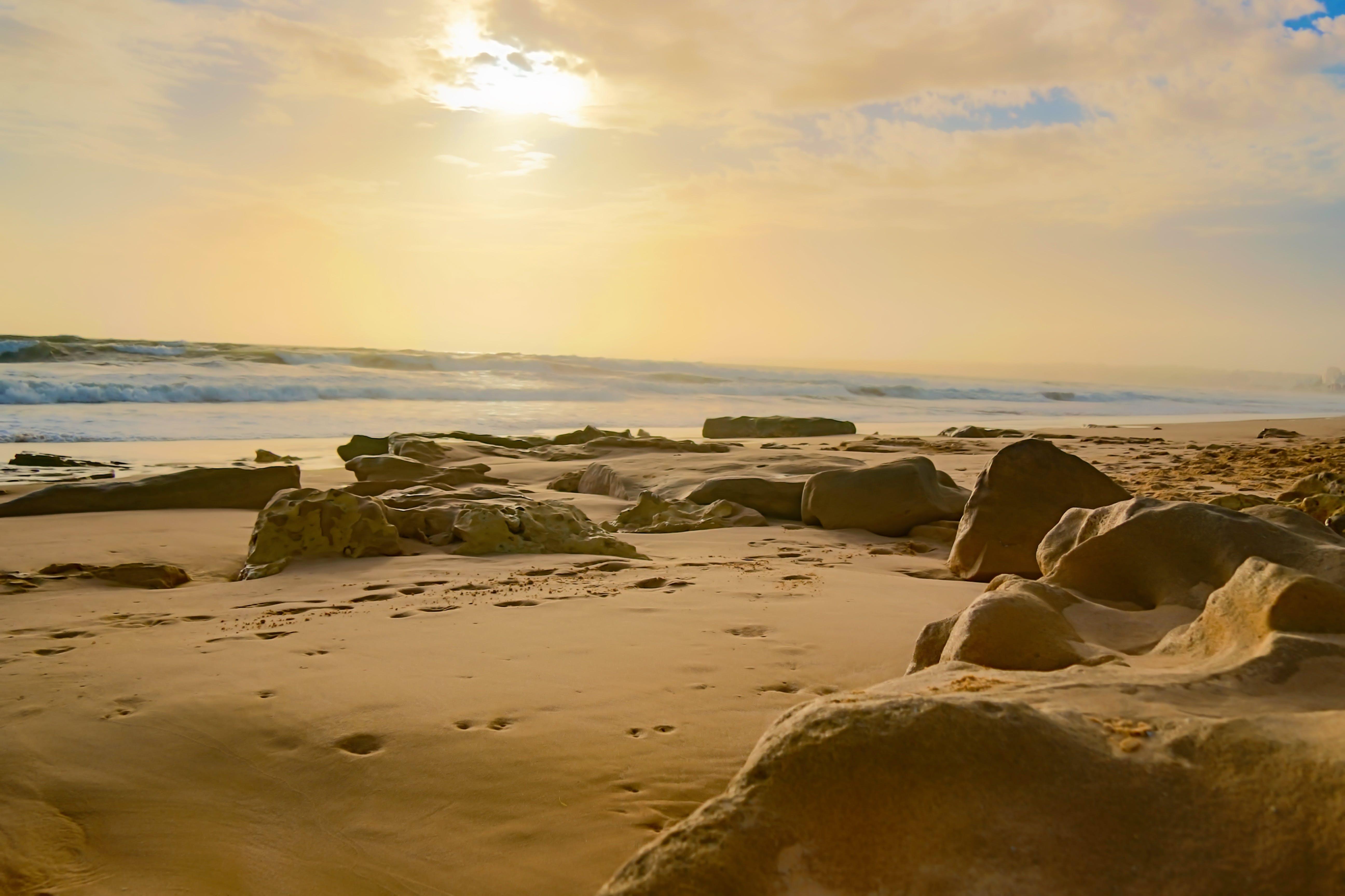 Free stock photo of sunset, beach, stone, portugal