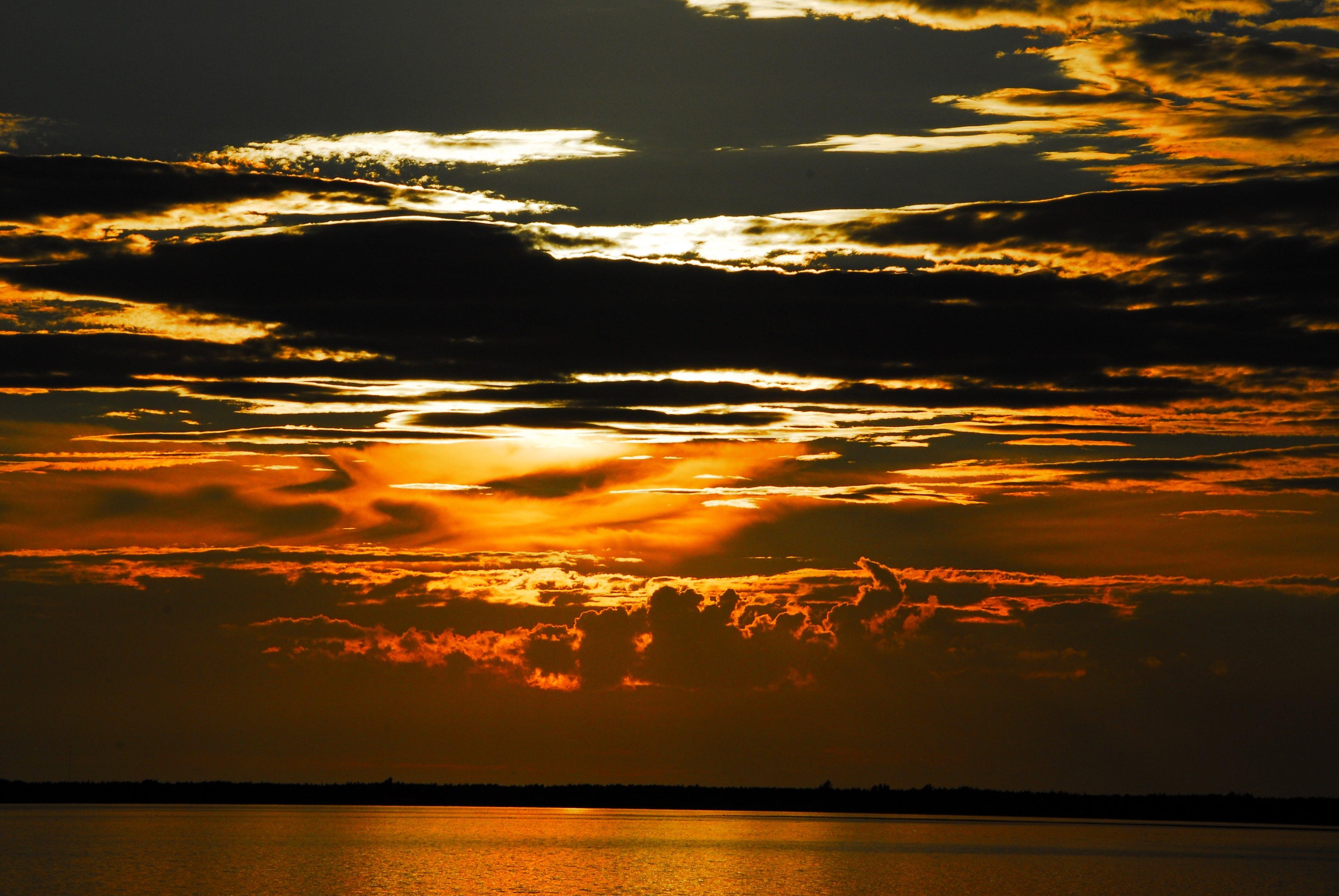 backlit, beach, clouds