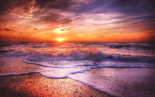 傍晚的天空, 傍晚的太陽, 北海, 反射 的 免費圖庫相片