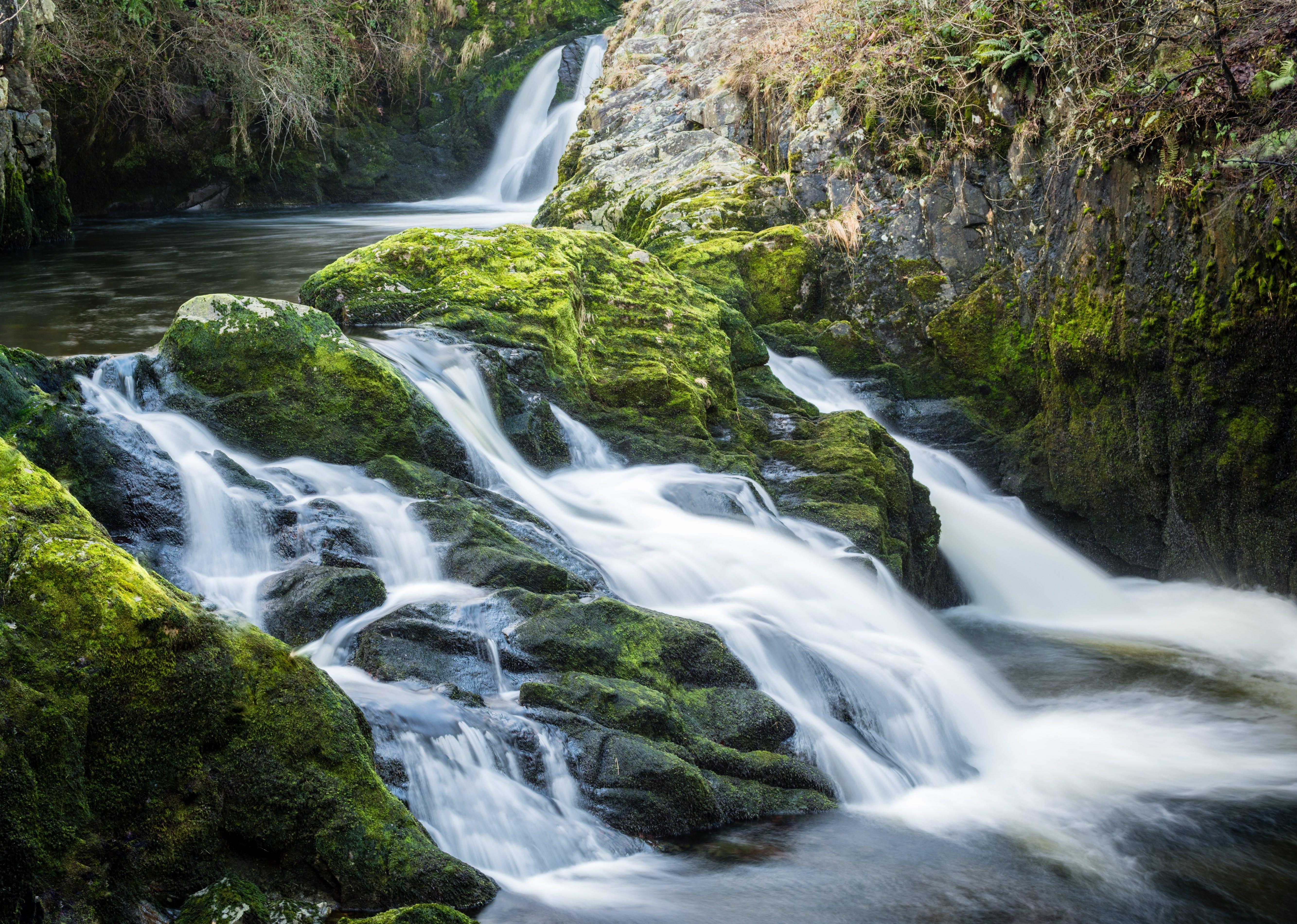 cascade, environment, flowing