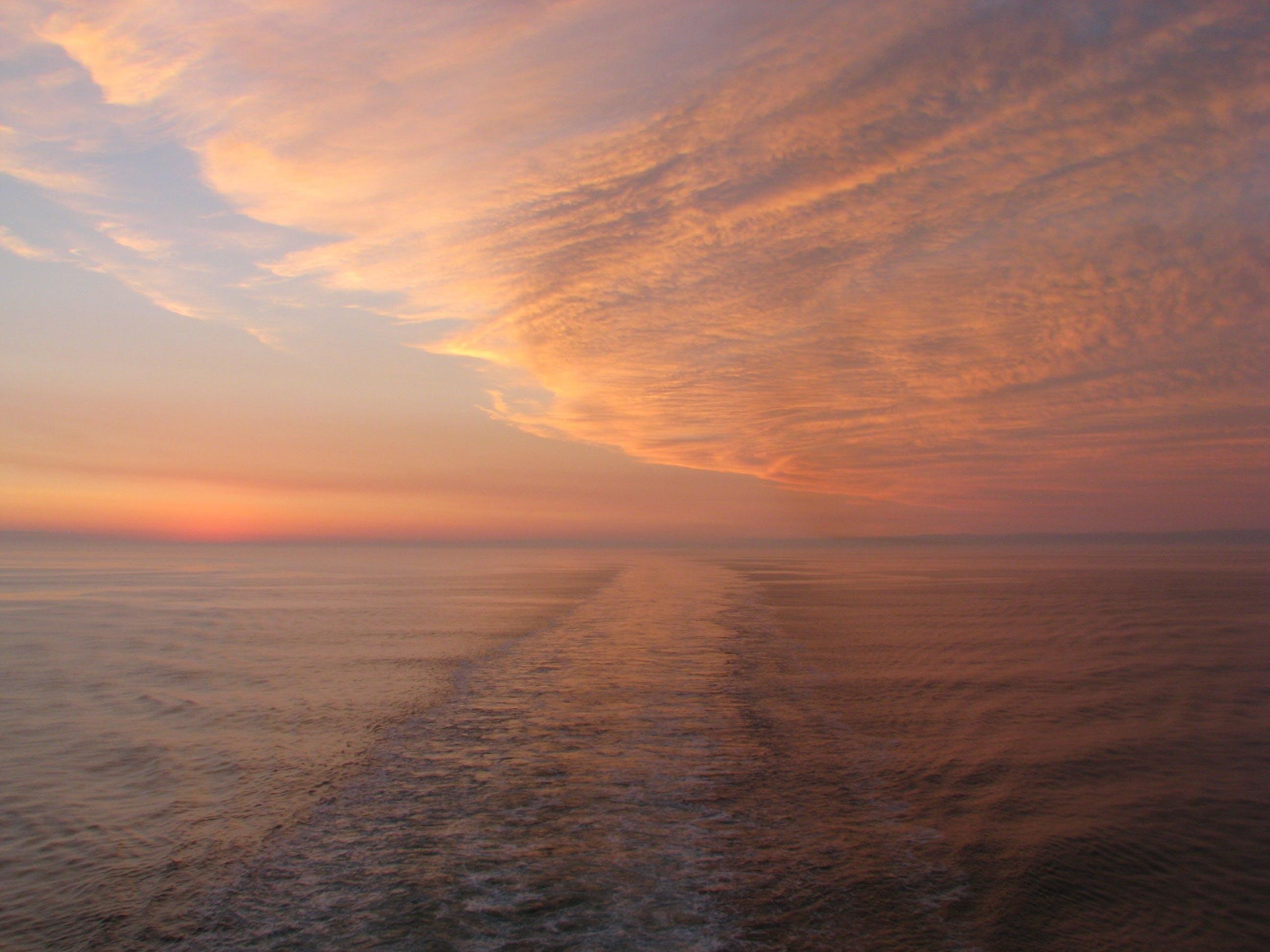 calm, clouds, horizon