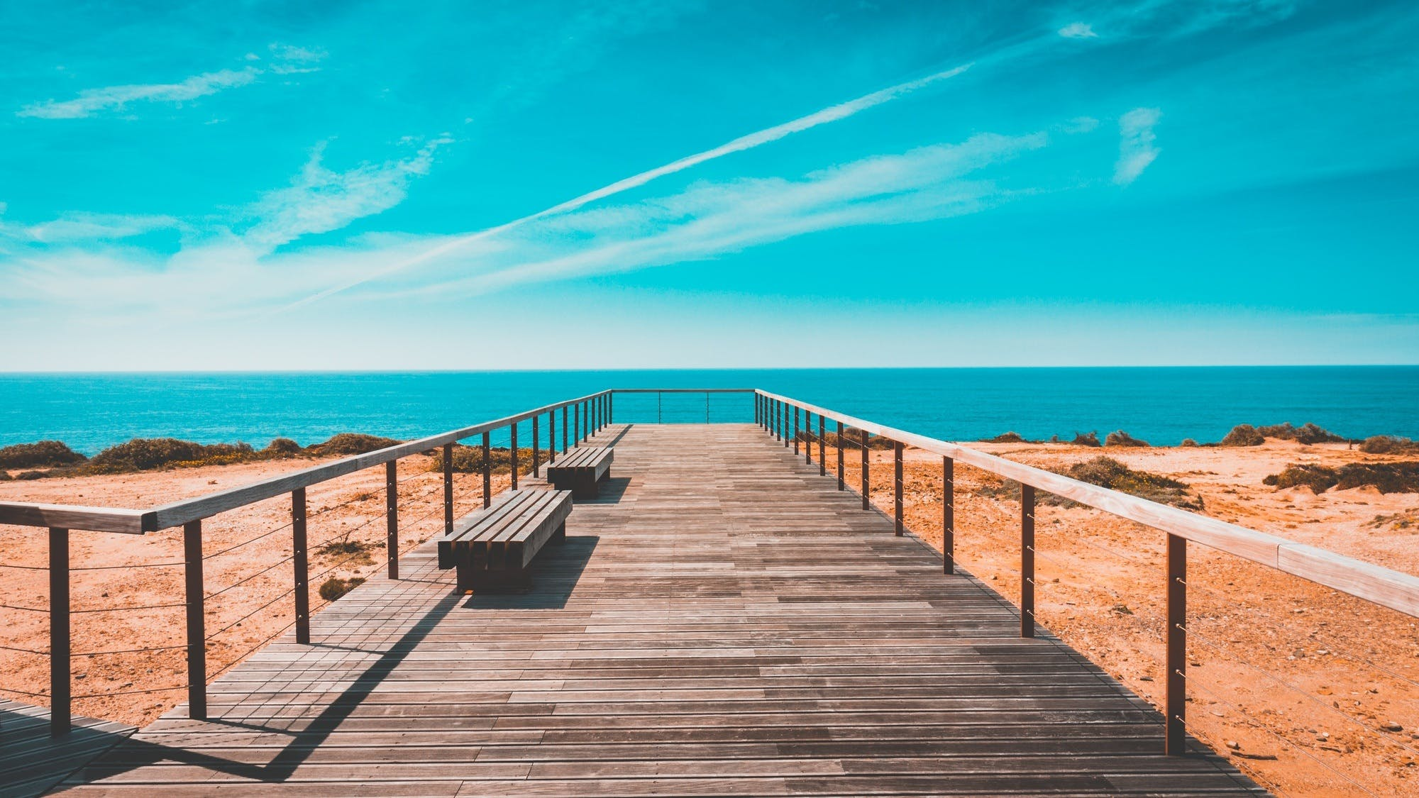 beach, bench, boardwalk
