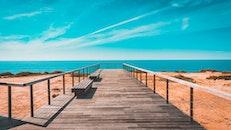 bench, sea, landscape