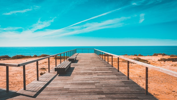 Free stock photo of bench, sea, landscape, nature