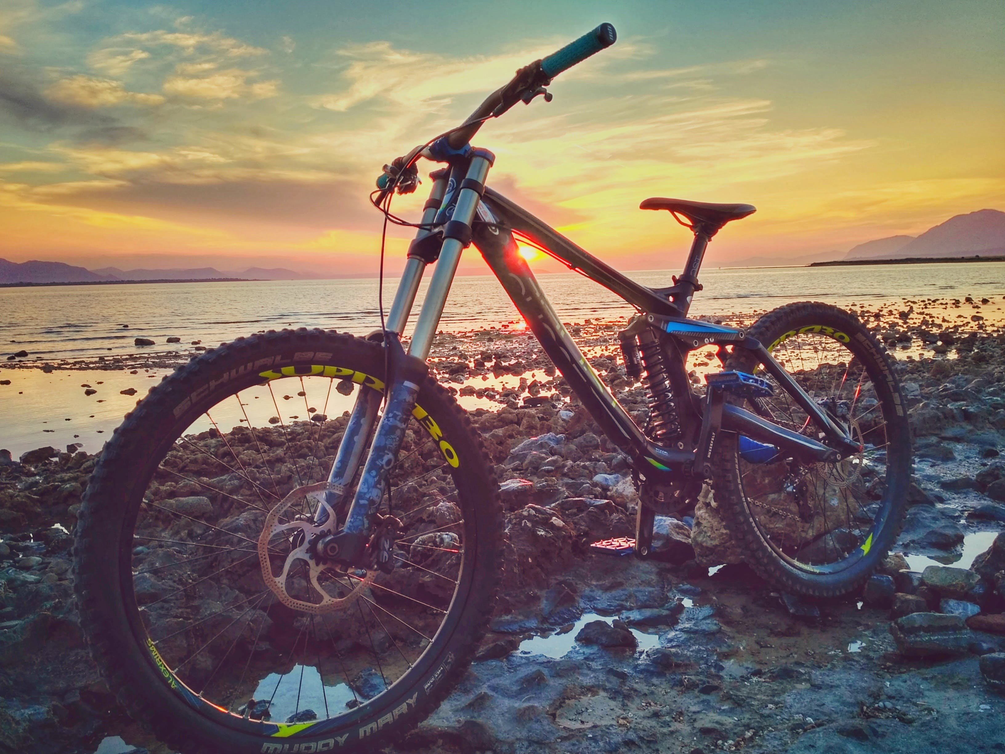adventure, beach, bicycle