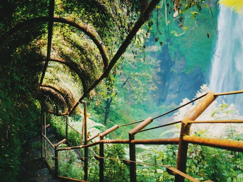 Staircase With Railings Overlooking The Waterfalls