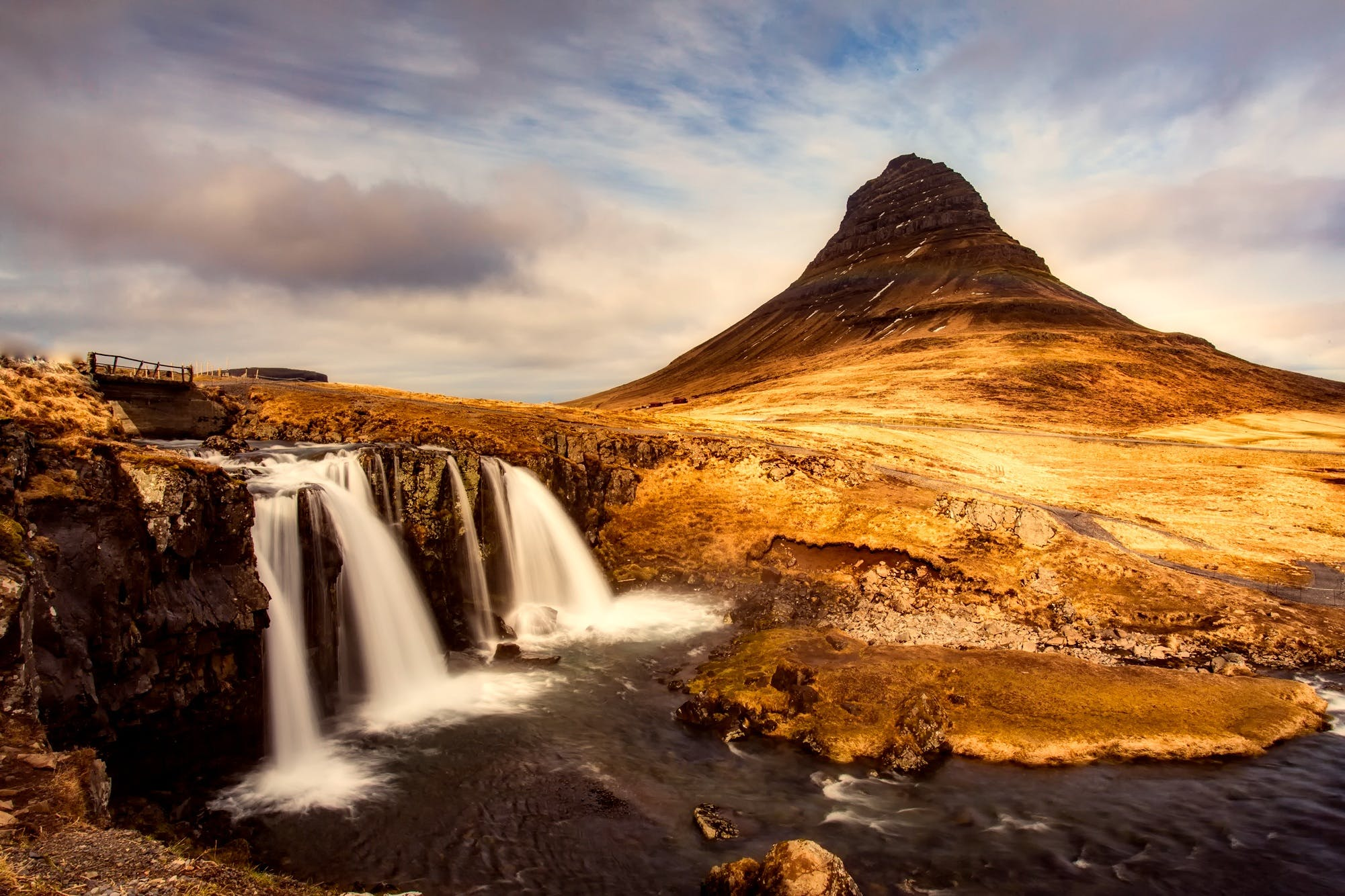 Waterfalls Near Mountain