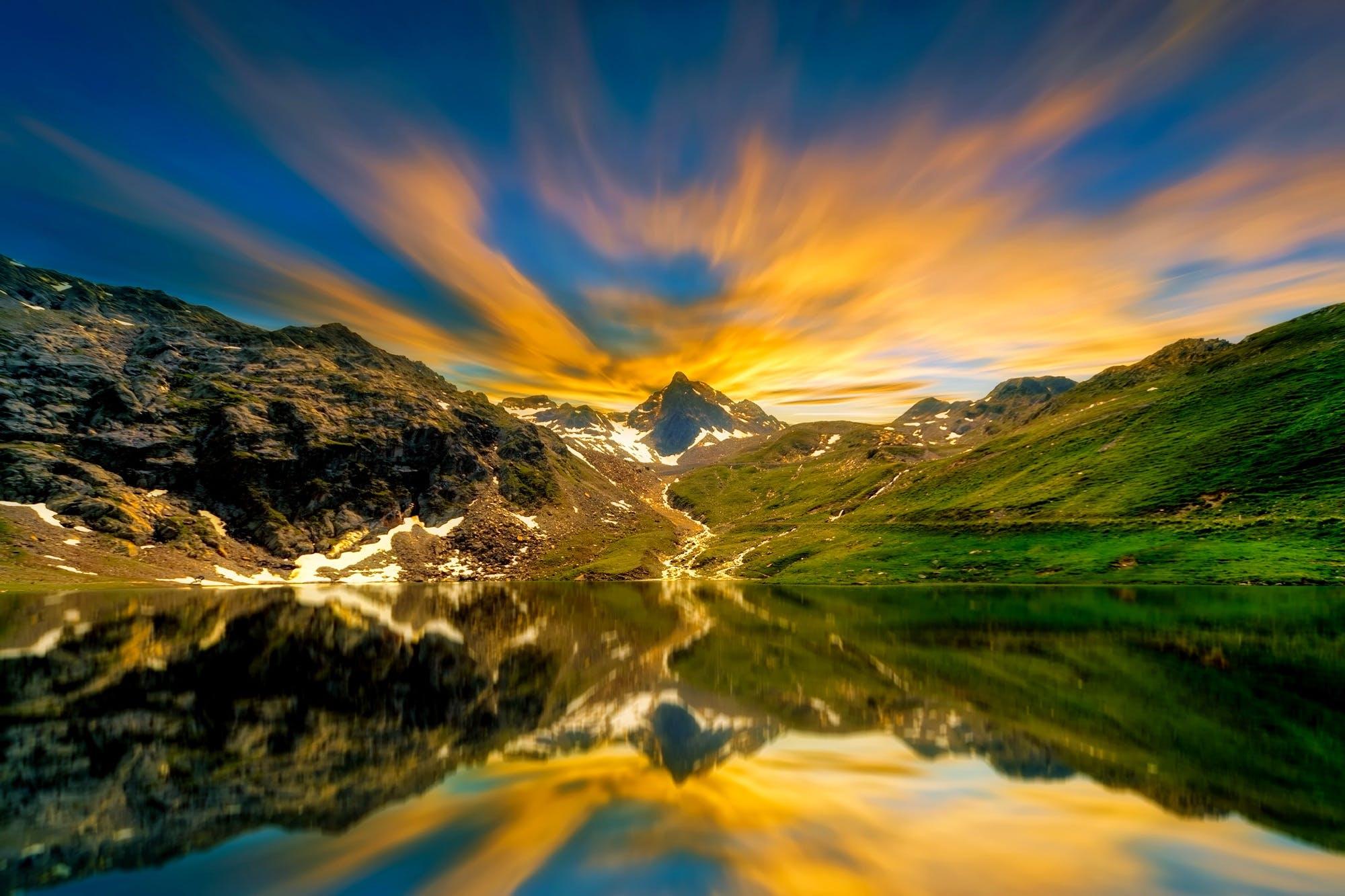 clouds, idyllic, lake