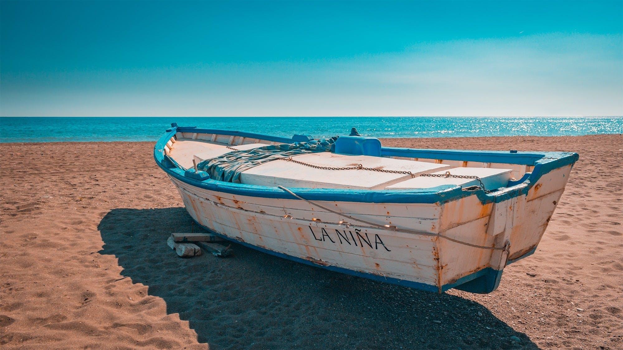beach, blue sky, boat