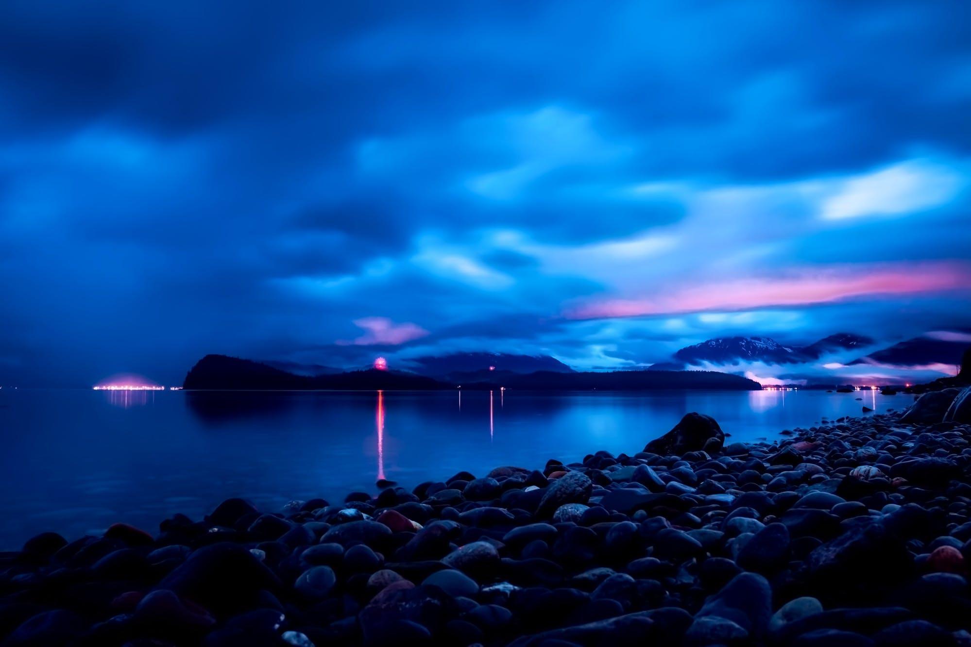 bay, clouds, dark