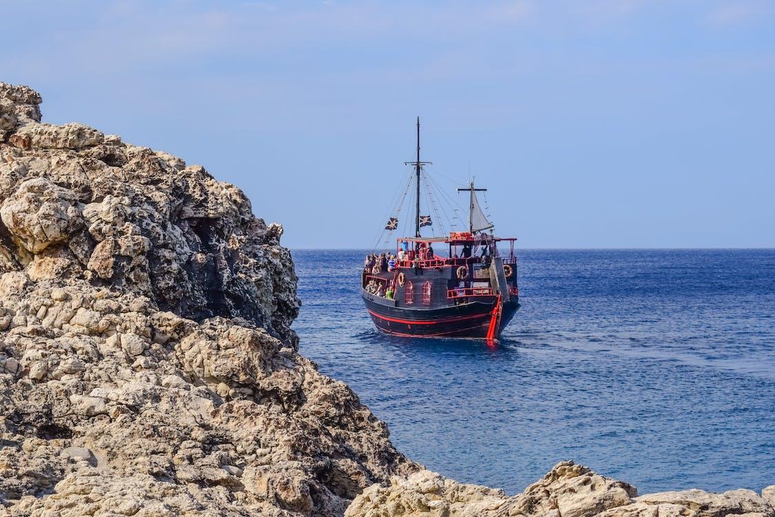 båd, blå, bugt