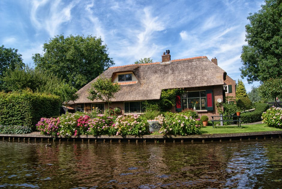 architecture, bungalow, canal