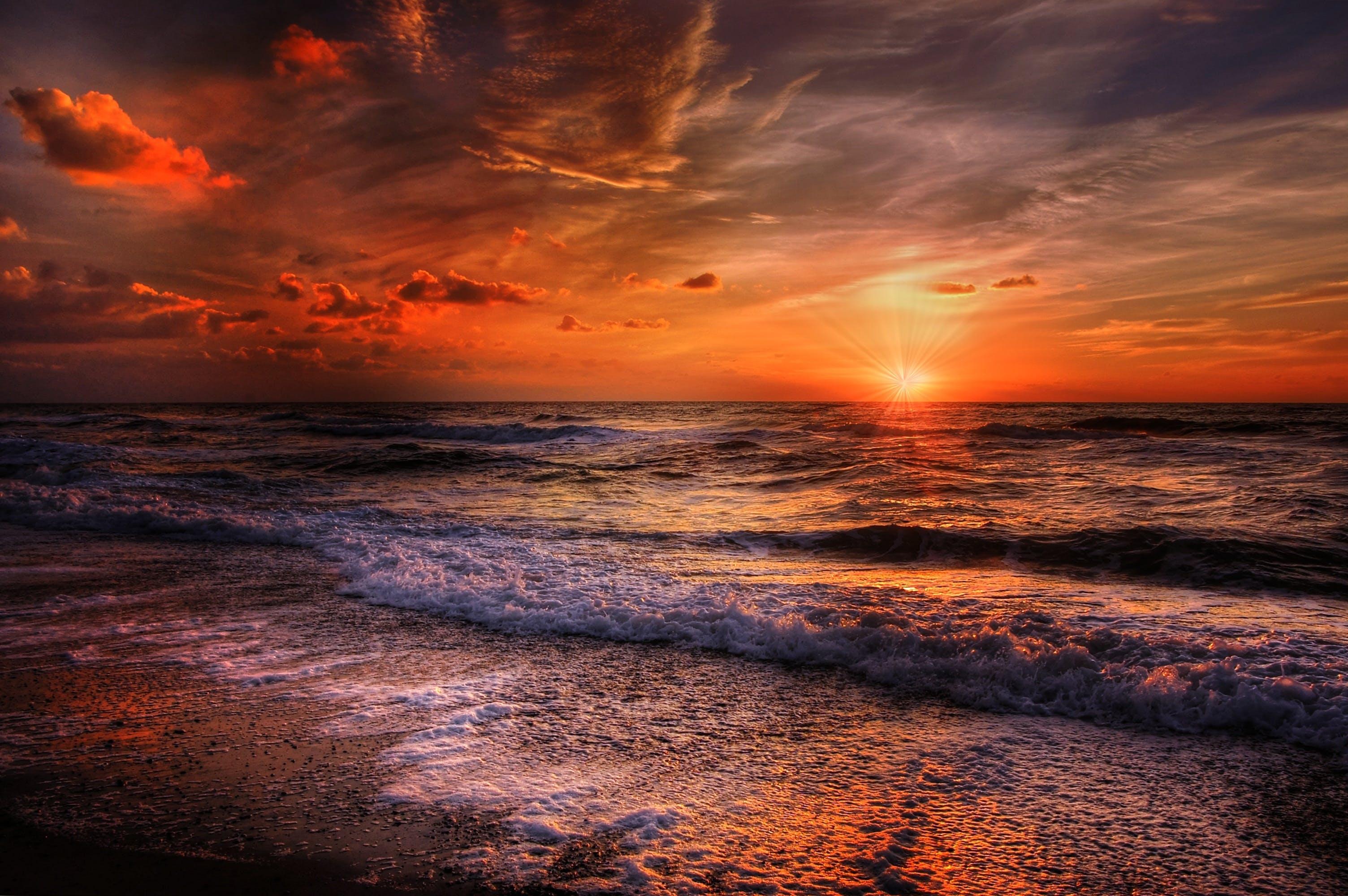 Kostenloses Stock Foto zu meer, himmel, sonnenuntergang, strand