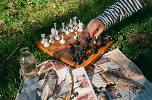 Unrecognizable person playing chess while resting on lawn