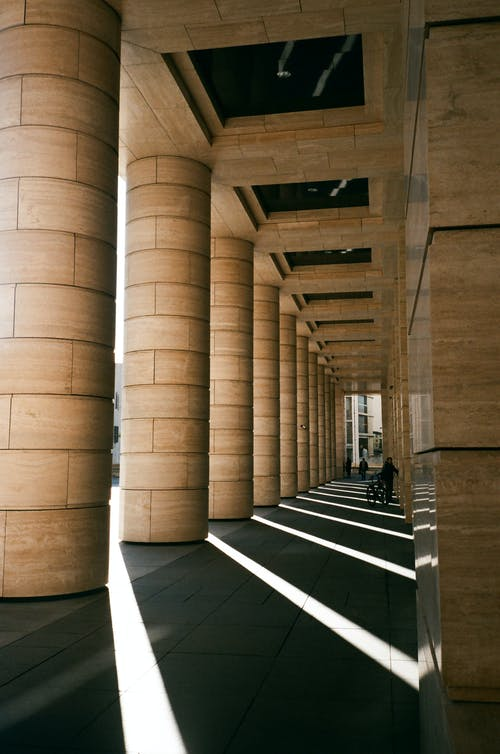 Rows of columns of majestic building