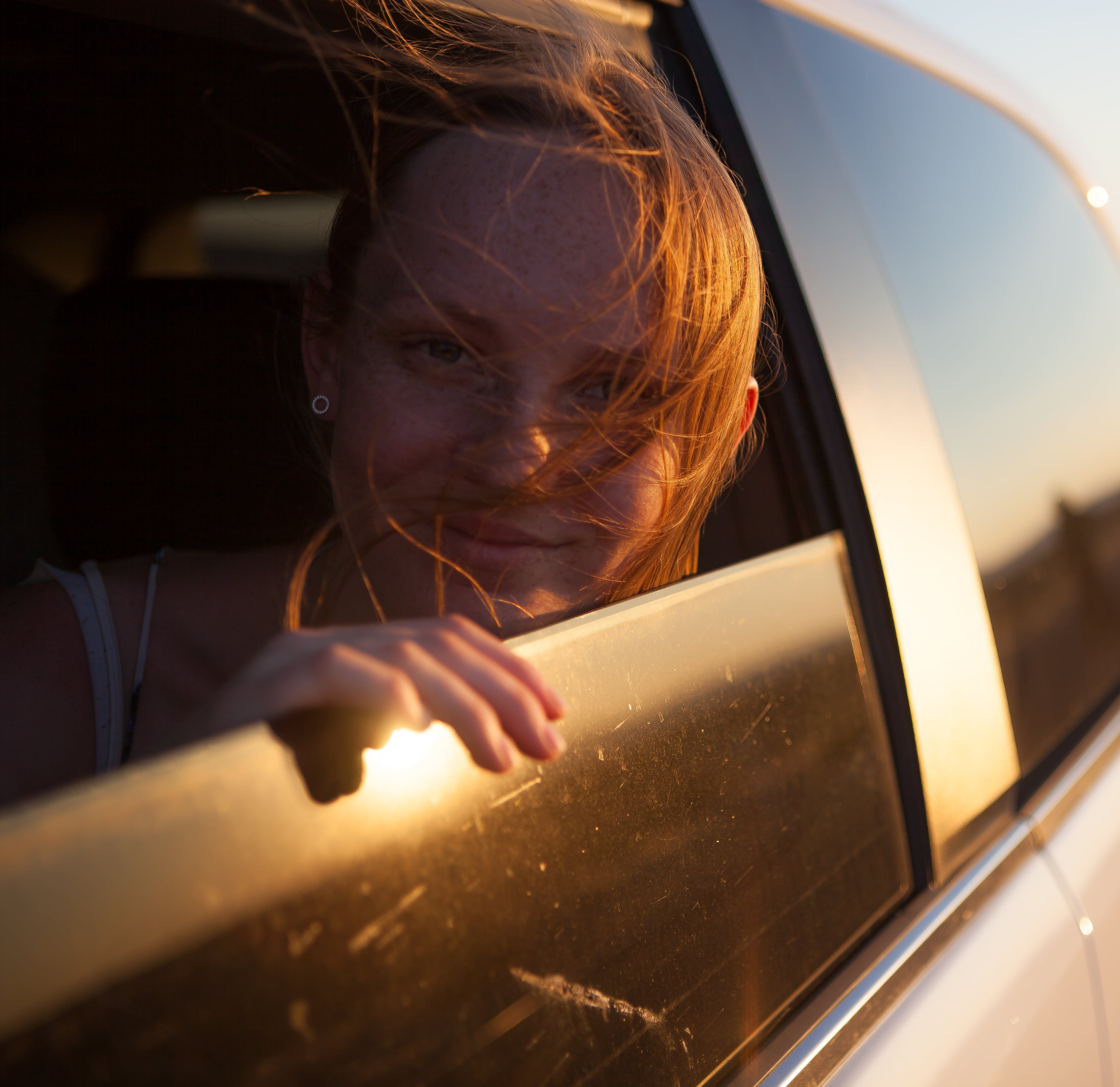 Free stock photo of cute, model, red head, road trip